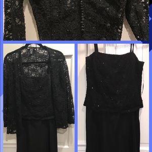 JS Boutique Black Beaded Evening Dress